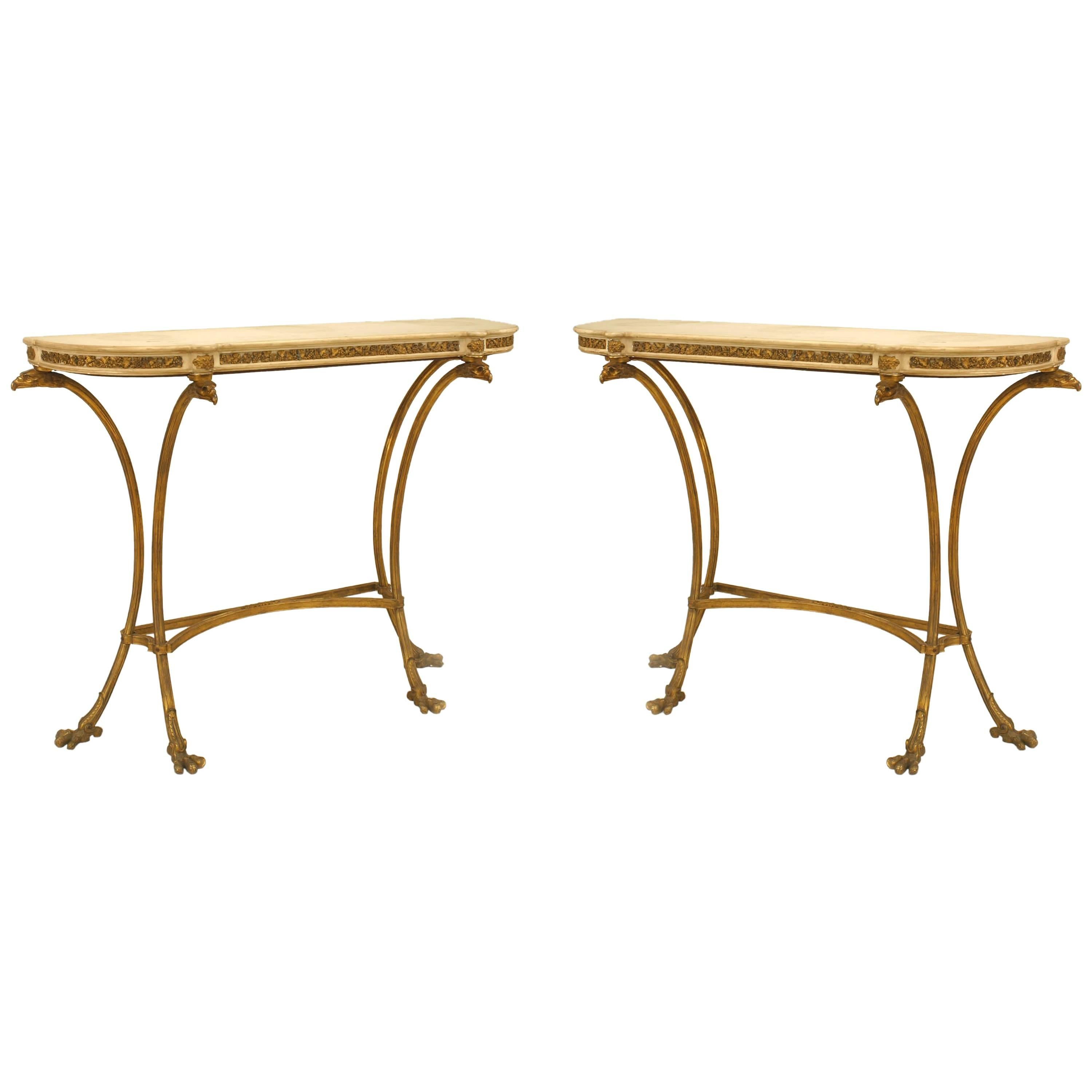 Pair of French Louis XVI Style Bronze Doré Console Tables