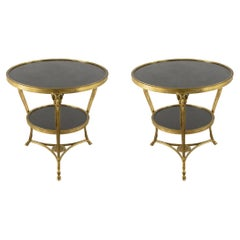 Pair of French Louis XVI Style Bronze Dore Ram and Marble End / Side Tables