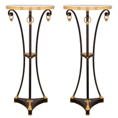 Pair of French Louis XVI Style Bronze, Ormolu and Carrara Marble Gueridon Table
