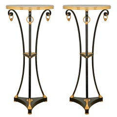 Pair of French Louis XVI Style Bronze, Ormolu and Marble Gueridon Side Tables