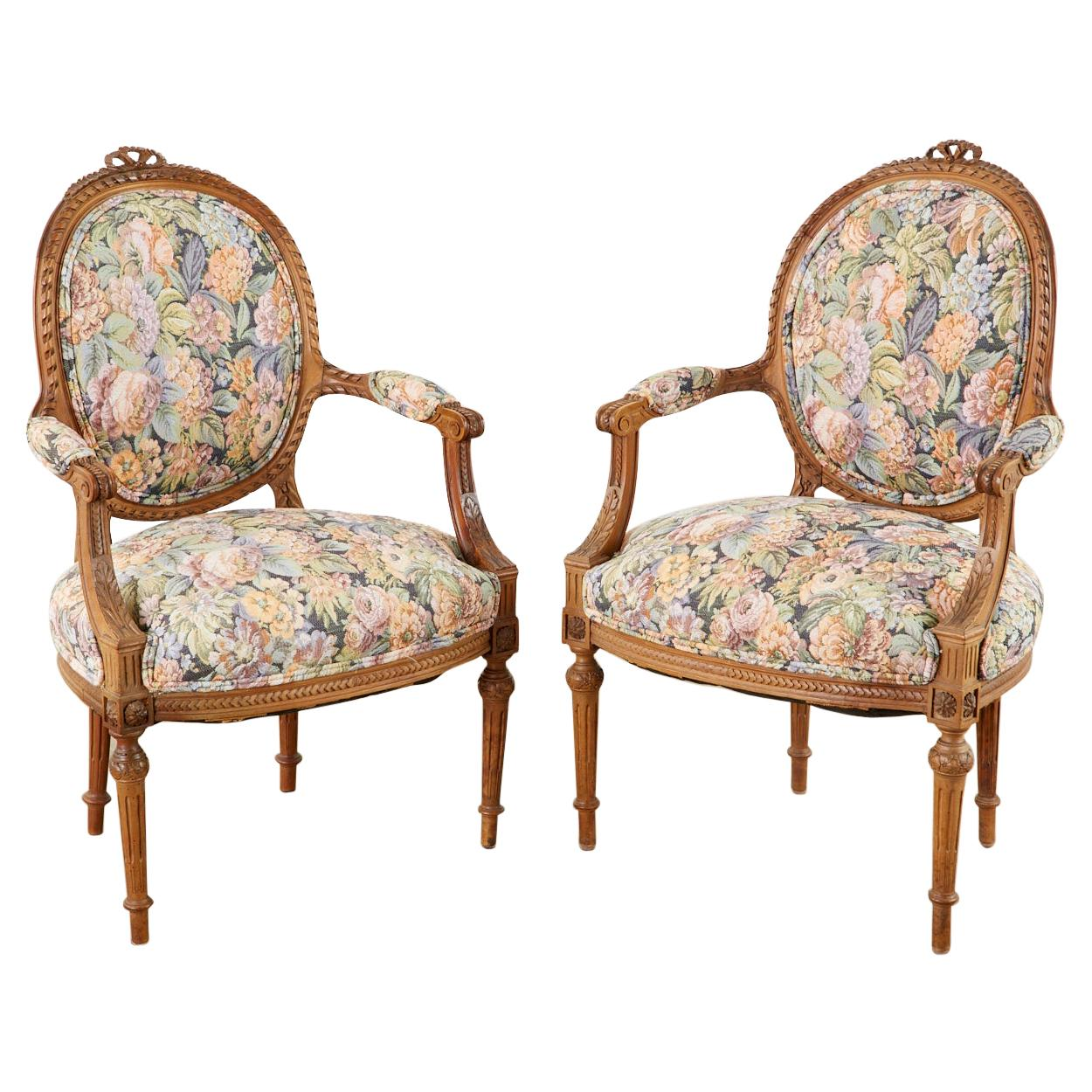 Pair of French Louis XVI Style Carved Fauteuil Armchairs
