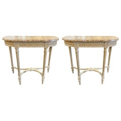 Pair of French Louis XVI Style Carved Poly-Chrome Consoles with Marble Tops