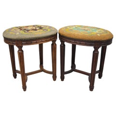 Pair of French Louis XVI Style Carved Walnut and Needlepoint Oval Stools