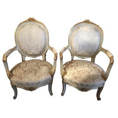Pair of French Louis XVI Style Chairs/Fauteuils Parcel Paint/ Giltwood