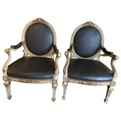 Pair of French Louis XVI Style Chairs with Paint / Giltwood in Black Leather