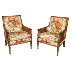 Pair of French Louis XVI Style Custom Upholstered Embroidered Cane Armchairs