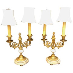 Pair of French Louis XVI Style Dore Bronze and Marble Candelabra or Table Lamps