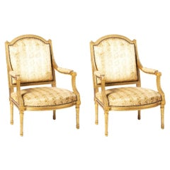 Pair of French Louis XVI Style Fauteuils, 19th Century