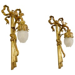 Pair of French Louis XVI Style Gilded Bronze and White Glass Sconces, 1920s