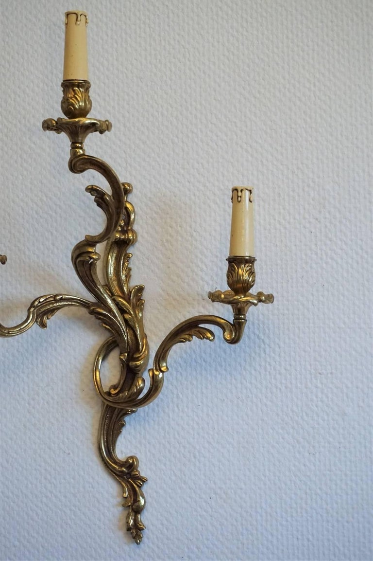 Pair of French Louis XVI Style Gilt Bronze Electrified Three-Light Wall Sconces For Sale 1