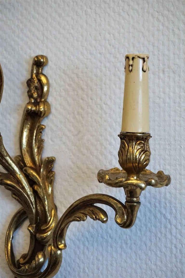 Pair of French Louis XVI Style Gilt Bronze Electrified Three-Light Wall Sconces For Sale 3