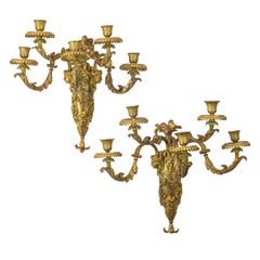 Pair of French Louis XVI Style Gilt Bronze Five-light Wall Sconces