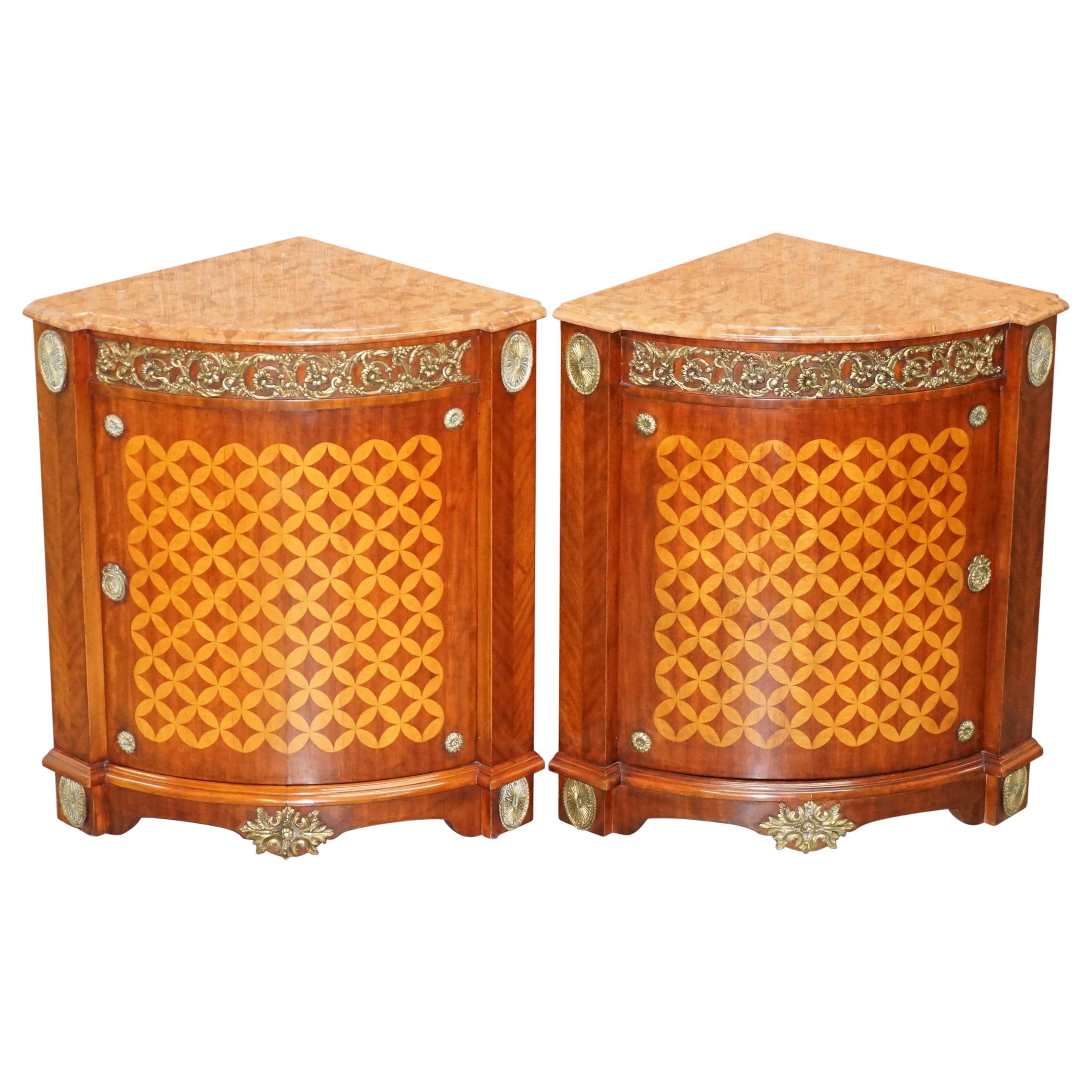 Pair of French Louis XVI Style Gilt Bronze, Hardwood & Marble Corner Cupboards