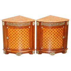 Pair of French Louis XVI Style Gilt Bronze, Mahogany & Marble Corner Cupboards