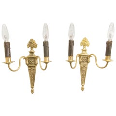 Pair of French Louis XVI Style Two-Light Gilt Bronze Sconces