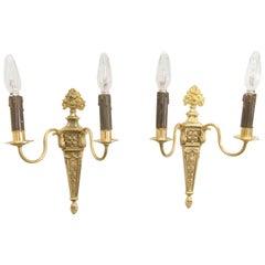 Pair of French Louis XVI Style Gilt Bronze Sconces