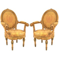 Pair of French Louis XVI Yellow Silk Armchairs