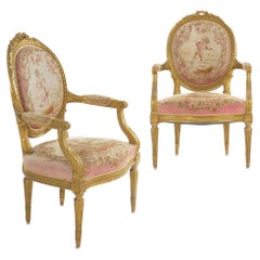Pair of French Louis XVI Style Giltwood Antique Armchairs Fauteuils