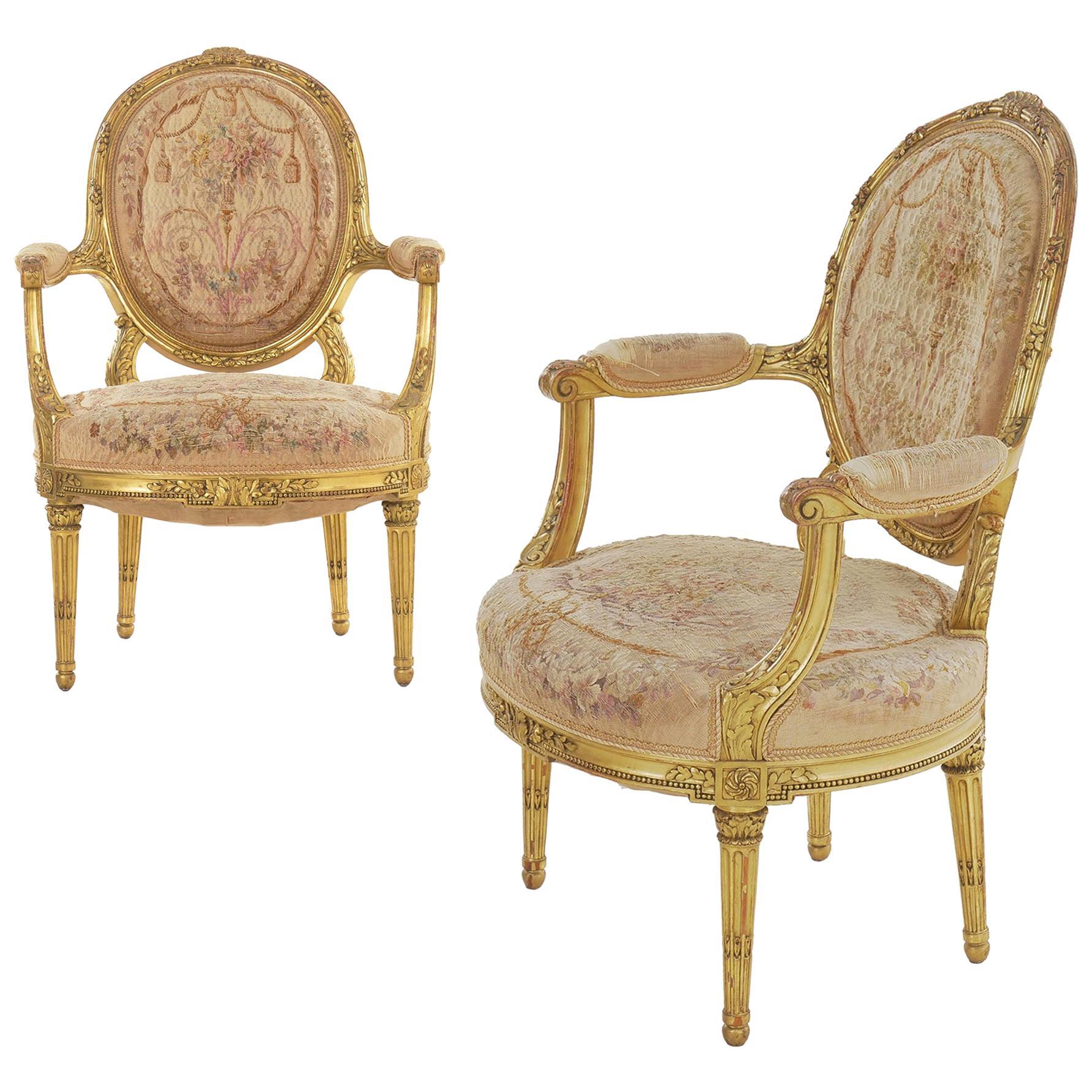 Pair of French Louis XVI Style Giltwood Antique Armchairs, Paris, circa 1900