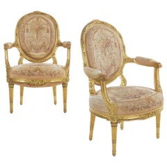 Pair of French Louis XVI Style Giltwood Antique Fauteuil Armchairs, circa 1900