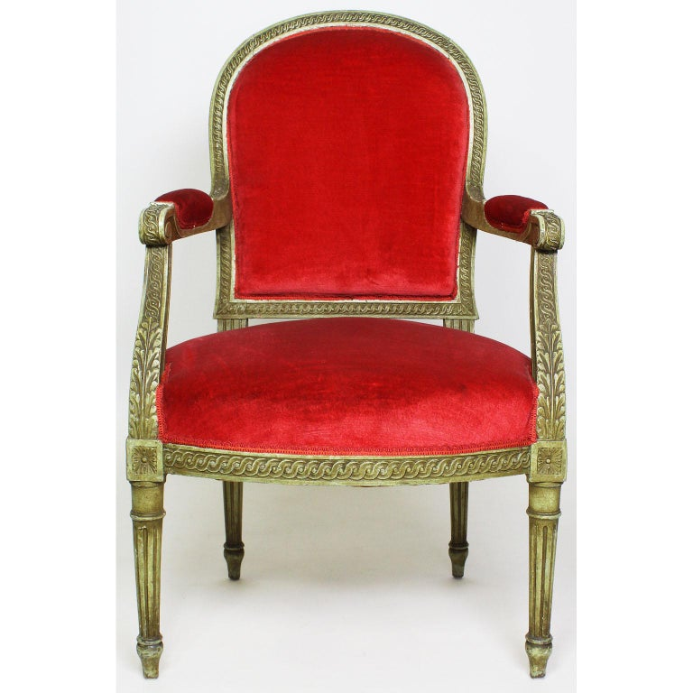 Pair of French Louis XVI Style Giltwood Carved Lacquered Fauteuils Armchairs In Fair Condition For Sale In Los Angeles, CA
