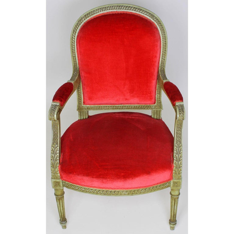 20th Century Pair of French Louis XVI Style Giltwood Carved Lacquered Fauteuils Armchairs For Sale
