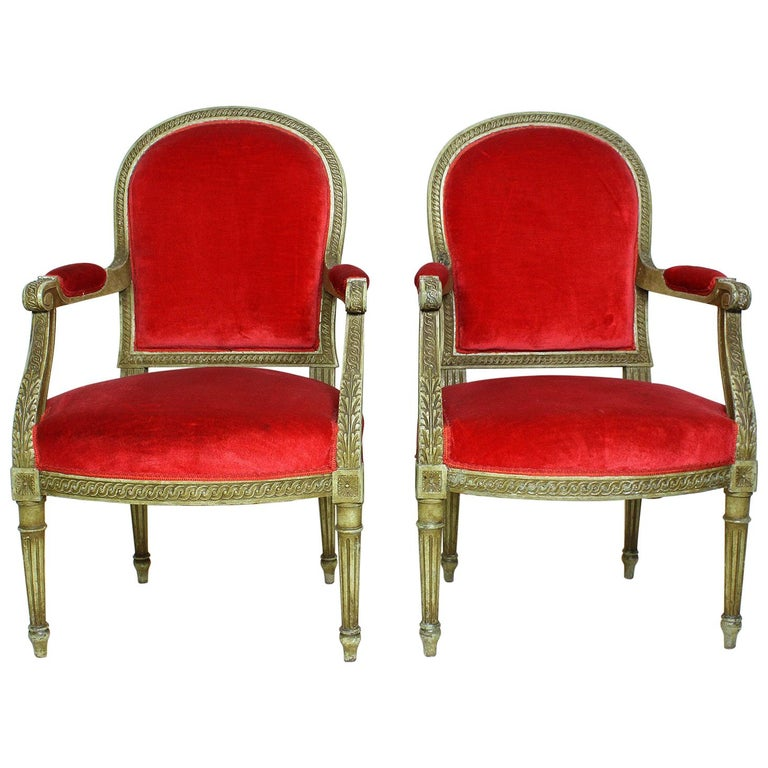 Pair of French Louis XVI Style Giltwood Carved Lacquered Fauteuils Armchairs For Sale
