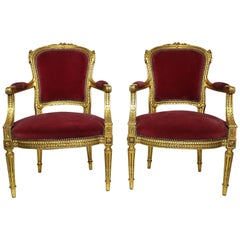 Pair of French Louis XVI Style Giltwood Carved Rococo Fauteuils Armchairs