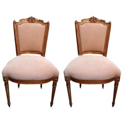 Pair of French Louis XVI Style Giltwood Chairs