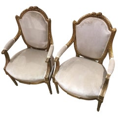 Pair of French Louis XVI Style Giltwood Chairs with New Cream Upholstery
