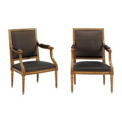 Pair of French Louis XVI Style Giltwood Fauteuils à  La Reine, Late 19th Century