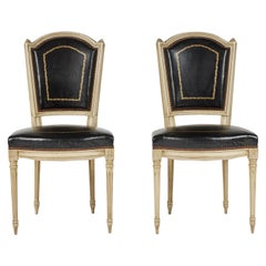 Pair of French Louis XVI Style Leather Side Chairs, c. 1940