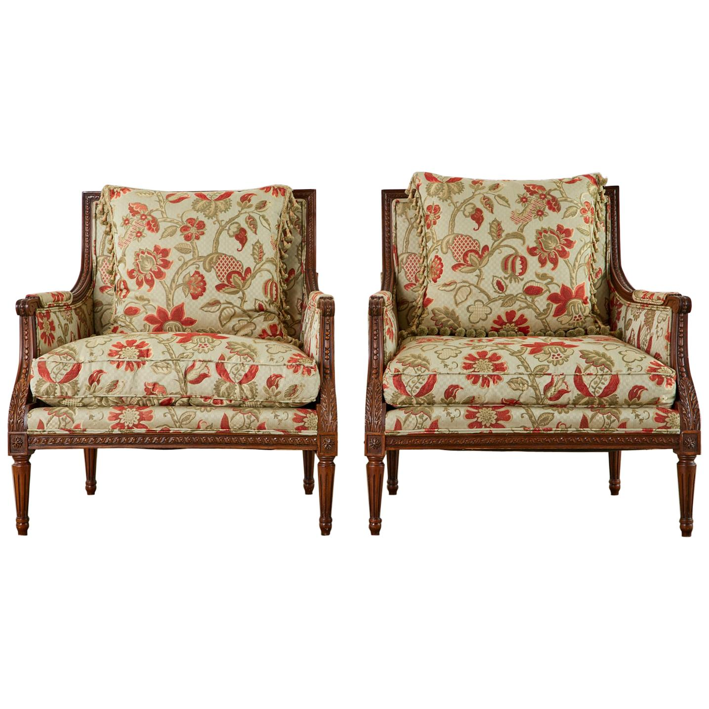 Pair of French Louis XVI Style Mahogany Bergère Armchairs