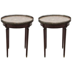 Pair of French Louis XVI Style Mahogany Marble-Top Bouillotte Side Tables