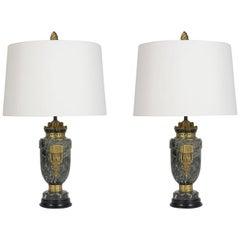Pair of Louis XVI Marble Lamps