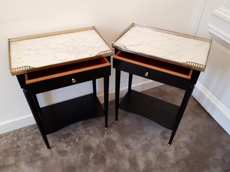 Pair of French Louis XVI Style Marble Nightstands For Sale 6