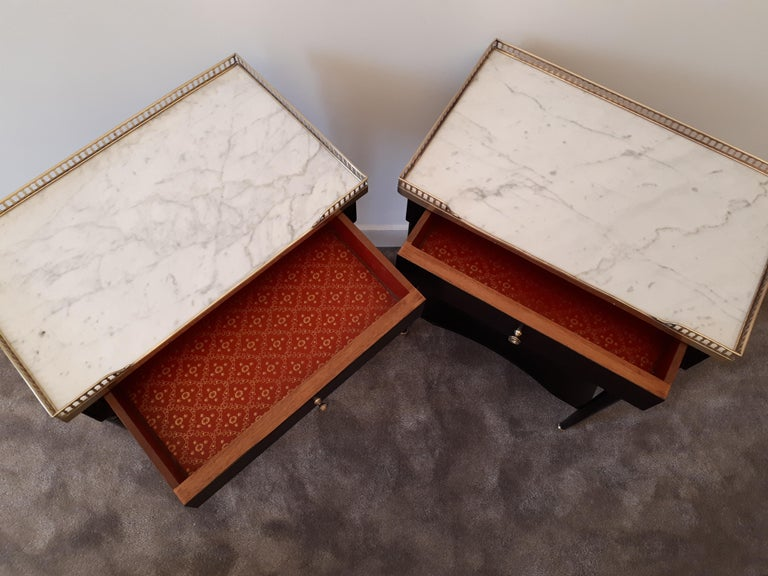 Pair of French Louis XVI Style Marble Nightstands For Sale 7