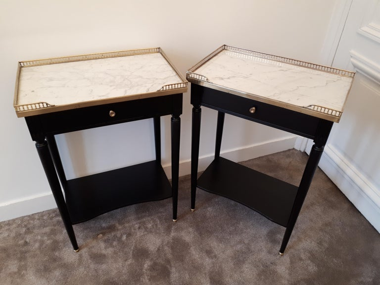 Pair of French Louis XVI Style Marble Nightstands For Sale 9