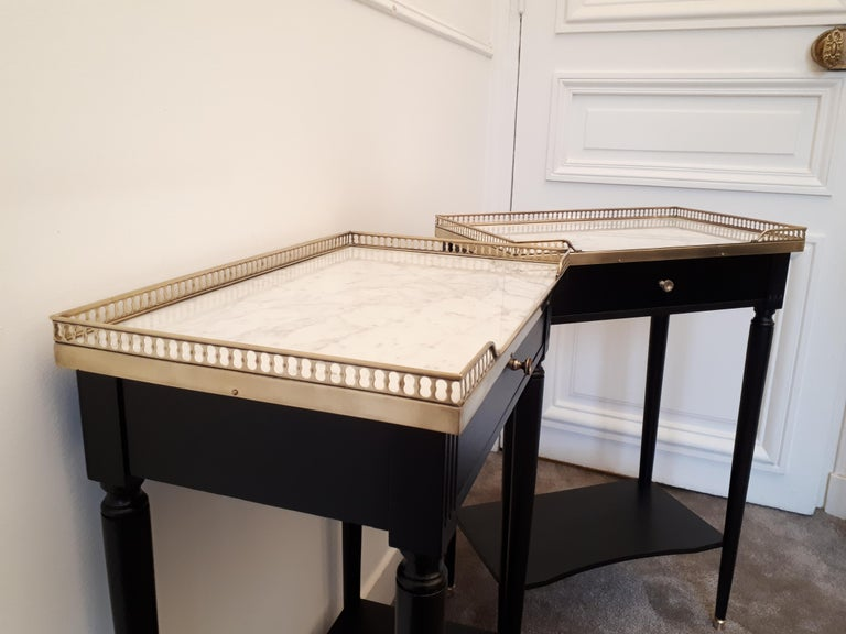 Pair of French Louis XVI Style Marble Nightstands For Sale 10
