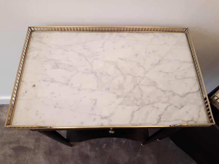 Pair of French Louis XVI Style Marble Nightstands For Sale 11