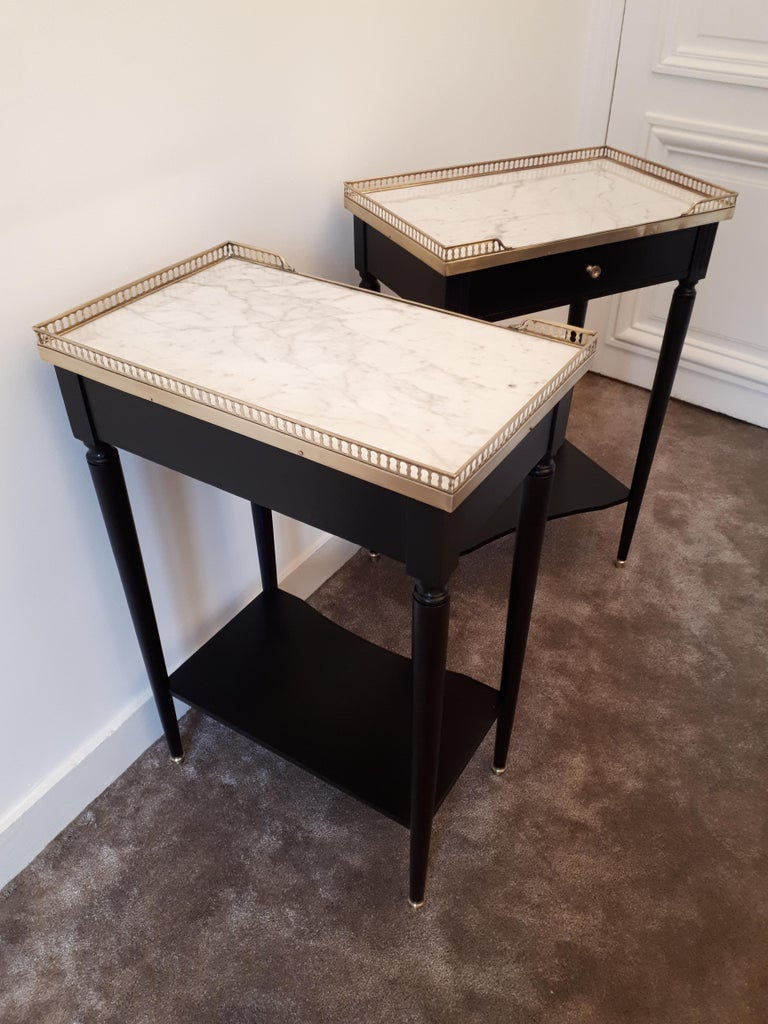 Pair of French Louis XVI Style Marble Nightstands For Sale 3