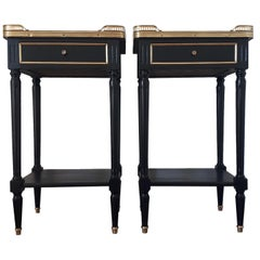 Pair of French Louis XVI Style Marble Nightstands