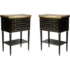 Pair of French Louis XVI-Style Marble-Top End Tables with Brass Gallery