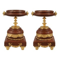 Pair of French Louis XVI Style Mid-19th Century Marble and Ormolu Tazzas