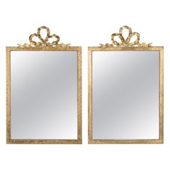 Pair of French Louis XVI Style Mirrors with Brass Frames, Early 1900s