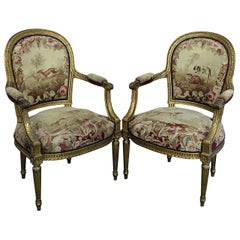 Pair of French Louis XVI Style Needlepoint Fauteuils