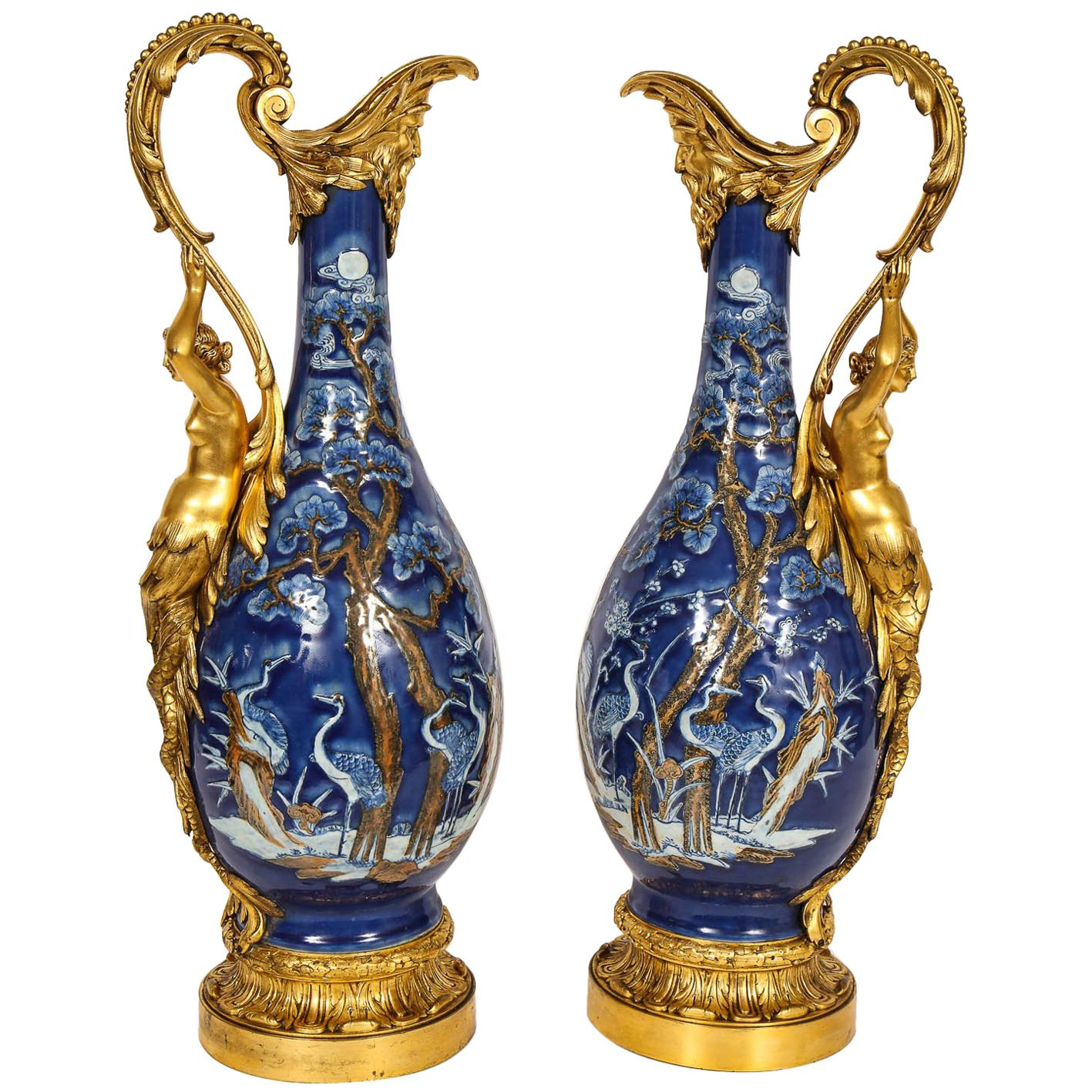 Pair of French Louis XVI Style Ormolu Mounted Chinese Export Porcelain Vases