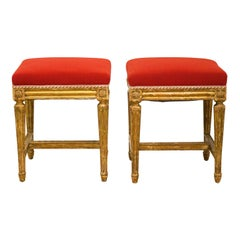 Pair of French Louis XVI Style Paint and Gilt Upholstered Benches or Stools