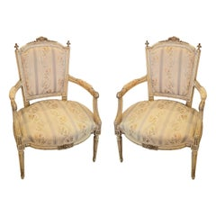 Pair of French Louis XVI Style Painted Fauteuils