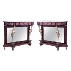 Pair of Saunier French Louis XVI Style Mahogany Marble Top Console Tables
